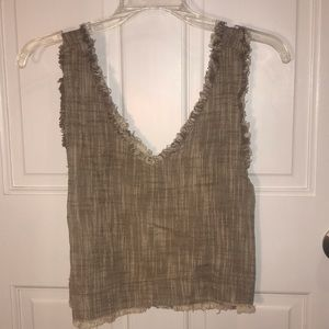 Sand/beige v neck crop top with fringe